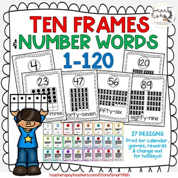 Ten Frames and Number Words 1-100 (Pale Gray) by Smart Fish | TpT