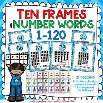 Ten Frames and Number Words 1-100 (Arctic Blue Chevron) by SmartFish
