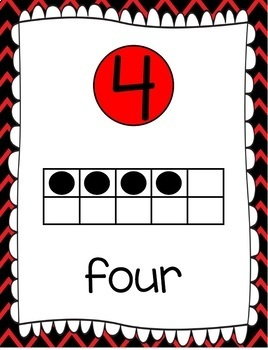 Ten Frames and Number Words 1-100 (Black/Red Chevron)