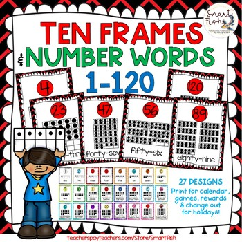 Ten Frames and Number Word Posters 1-120 (Black/Red Chevron)