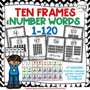 Ten Frames and Number Words 1-100 (Black/White Chevron) by Smart Fish