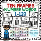 Ten Frames and Number Words 1-100 (Black/White Chevron)