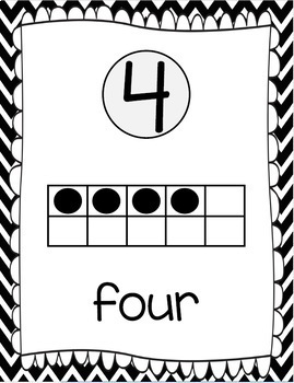 Ten Frames and Number Words 1-100 (Black/White Chevron)