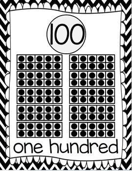 Ten Frames and Number Word Posters 1-120 (Black/White Chevron)