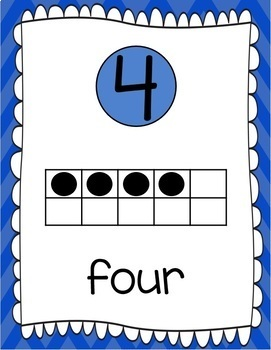 Ten Frames and Number Words 1-100 (Blue Chevron)