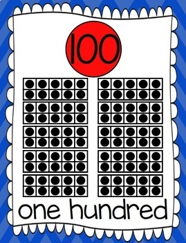 Ten Frames and Number Words 1-100 (Blue/Red Chevron)