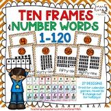 Ten Frames and Number Words 1-100 (Burnt Orange Chevron)