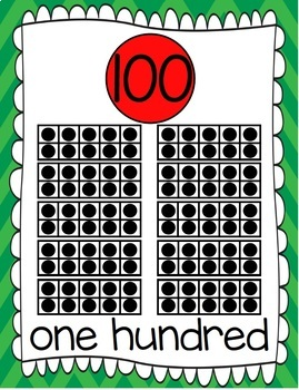Ten Frames and Number Words 1-100 (Christmas Chevron)