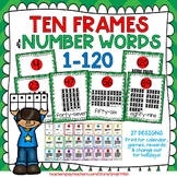 Ten Frames and Number Word Posters 1-120 (Green/Red Chevron)