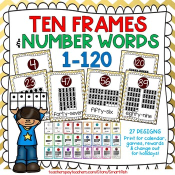Ten Frames and Number Words 1-100 (Gold/Maroon Chevron) by Smart Fish