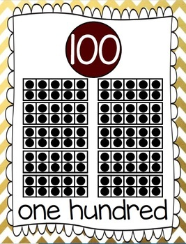 Ten Frames and Number Words 1-100 (Gold/Maroon Chevron)