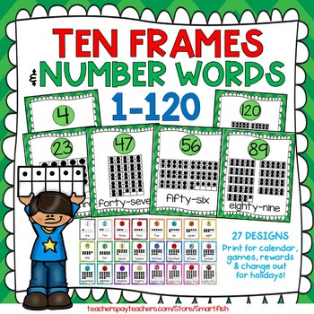 Ten Frames and Number Word Posters 1-120 (Green Chevron)