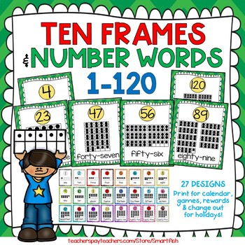 Ten Frames and Number Words 1-100 (Green/Yellow Chevron)