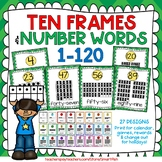 Ten Frames and Number Word Posters 1-120 (Green/Yellow Chevron)
