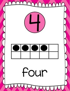 Ten Frames and Number Words 1-100 (Hot Pink Chevron)