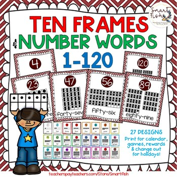 Ten Frames and Number Words 1-100 (Maroon/White) by Smart Fish | TpT