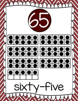Ten Frames and Number Word Posters 1-120 (Maroon/White)