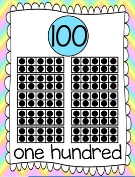 Ten Frames and Number Word Posters 1-120 (Pastel Rainbow Chevron)