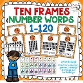 Ten Frames and Number Words 1-100 (Orange Chevron)