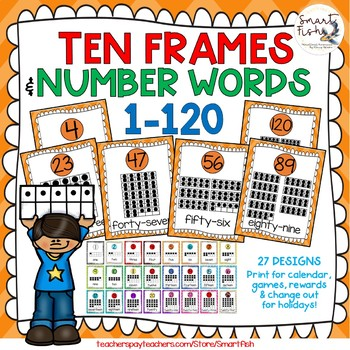 Ten Frames and Number Word Posters 1-120 (Orange Chevron)
