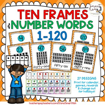 Ten Frames and Number Word Posters 1-120 (Orange/Turquoise Chevron)