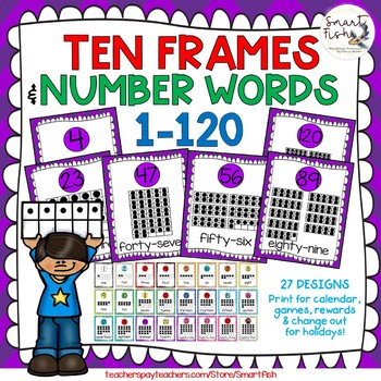 Ten Frames and Number Words 1-100 (Purple Chevron)