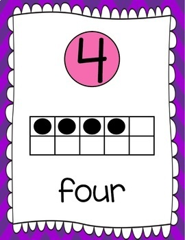 Ten Frames and Number Word Posters 1-120 (Purple/ Pink Chevron)