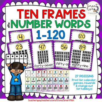 Ten Frames and Number Word Posters 1-120 (Purple/ Yellow Chevron)
