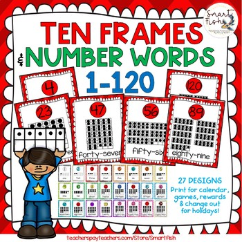 Ten Frames and Number Words 1-100 (Red Chevron)