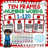 Ten Frames and Number Word Posters 1-120 (Red Chevron)