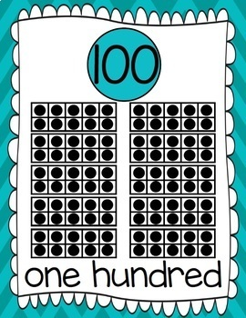 Ten Frames and Number Word Posters 1-120 (Turquoise Chevron)