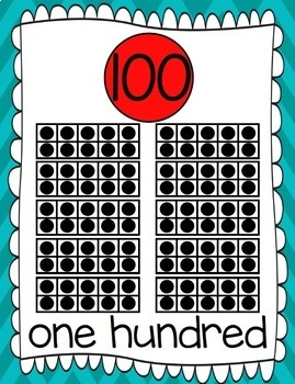 Ten Frames and Number Words 1-100 (Turquoise/Red Chevron)