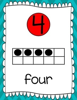 Ten Frames and Number Word Posters 1-120 (Turquoise/Red Chevron)