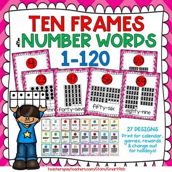 Ten Frames and Number Words 1-100 (Valentine Chevron)