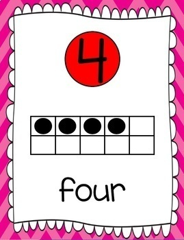 Ten Frames and Number Word Posters 1-120 (Hot Pink/Red Chevron)