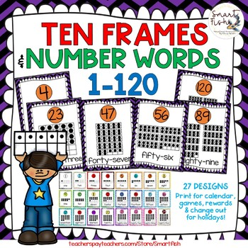 Ten Frames and Number Word Posters 1-120 (Black/Purple/Orange Chevron)
