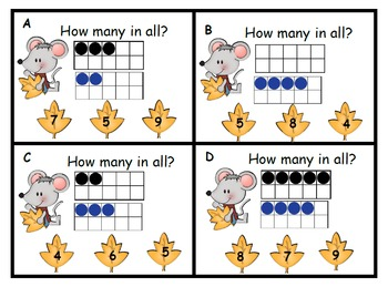 Ten Frames and Tally Marks Fall Mouse Theme