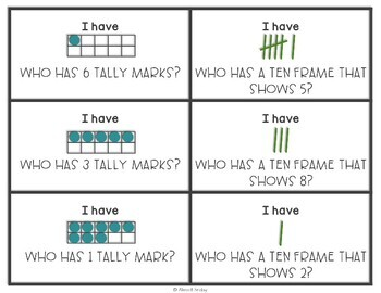 Ten Frames and Tally Marks I Have Who Has Game
