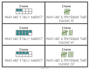 Ten Frames | Tally Marks | I Have Who Has Game