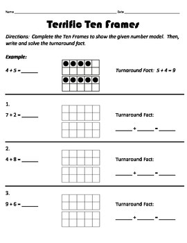Ten Frames and Turn-Around Facts Worksheet