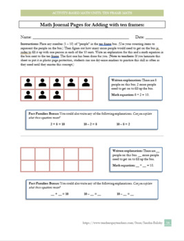 Ten Frames (counting and adding) - lessons, journal pages, practice worksheets