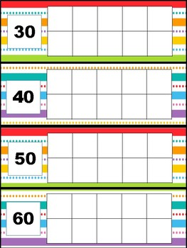 Ten Frames days in school with place value-strips and dots
