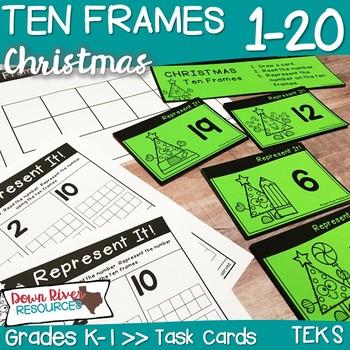 Ten Frames for Kindergarten Christmas Math Center   Number Practice 1-20