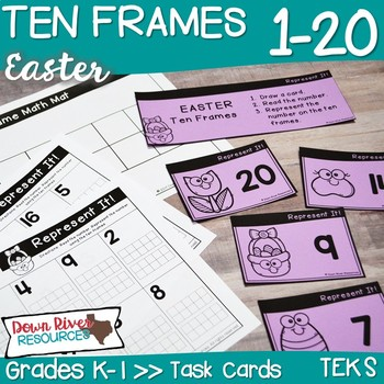 Ten Frames for Kindergarten Easter Math Center   Number Practice 1-20