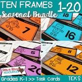 Ten Frames for Kindergarten Seasonal Math Centers | Fall, Winter, Spring, Summer