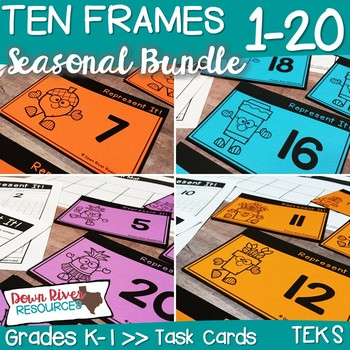 Ten Frames for Kindergarten Seasonal Math Centers | Fall, Winter, Spring, Summer