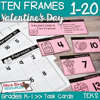 Ten Frames for Kindergarten Valentine's Day Math Center | Number Practice 1-20