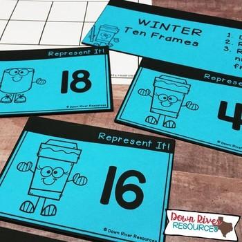 Ten Frames for Kindergarten Winter Math Center   Number Practice 1-20
