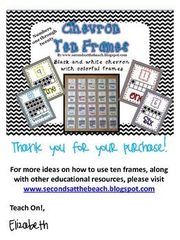 Ten Frames in Black Chevron