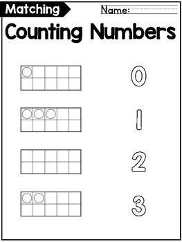 Ten Frames to 20 Matching Worksheets for Kindergarten FREEBIE!